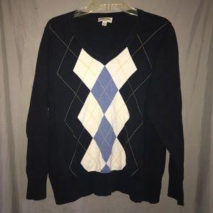 Navy Blue V-neck argyle sweater